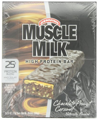 CytoSport Muscle Bars laitiers, arachides et chocolat caramel, 1 Pound 4,6 once Box, 8-comte