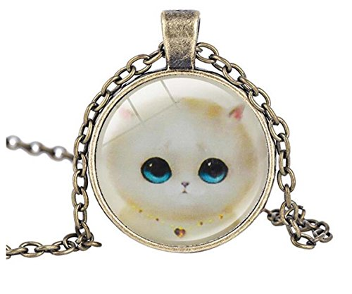 [Luck Wang Woman's Unique Fashion Retro Kitty Fashion Time Gemstone Pendant Necklace£¨1#£] (Diy Popcorn Costume)