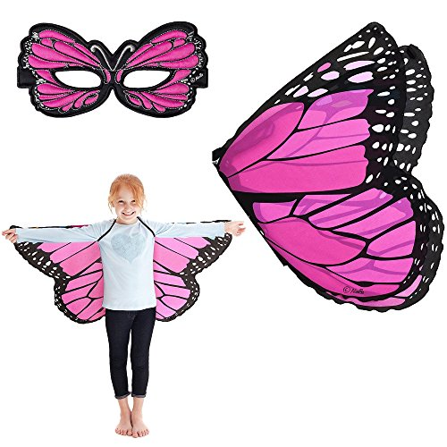 Douglas Cuddle Pink Monarch Butterfly Wings and Mask Bundle Set (Pink Butterfly Adult Wings)