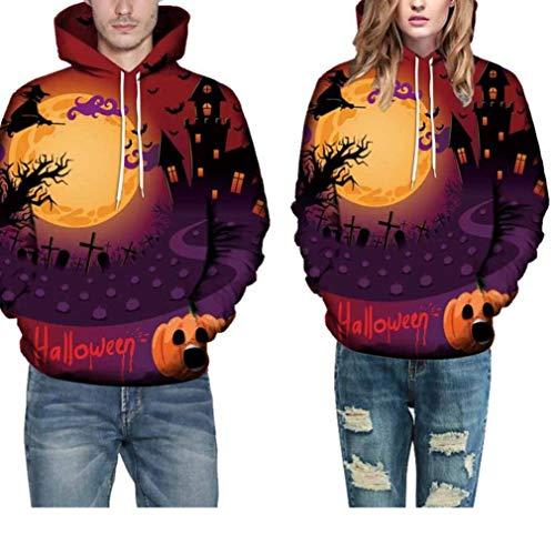 Women Costume Halloween Sweatshirt Grimace Pumpkin Moon Bat Print Party Hoodie(G,XXXX-Large)
