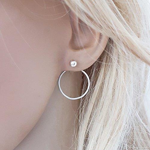 - Sterling Silver Circle Ear Jacket Earrings, Pair