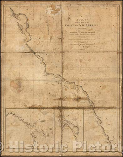 (Historic Map | The California Gold Rush, A Chart Shewing Part of the Coast of N.W. America, with the Tracks of His Majesty's Sloop Discovery and Armed, 1798 | Vintage Wall Art 24in x 30in)