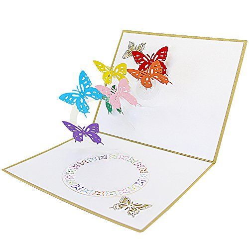 (Jerry & Maggie - Pop Up Greeting Card - Butterfly Flowers Cut Design 3D Paper Greeting Thank You Card Handmade Envelope for kids men women | Christmas Eve Halloween Thanksgiving)