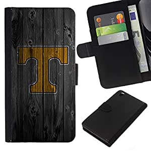 Planetar® Modelo colorido cuero carpeta tirón caso cubierta piel Holster Funda protección Para HTC DESIRE 816 ( T Initial Wood )
