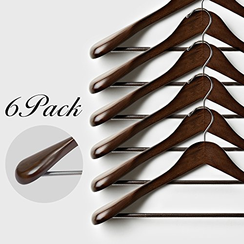 StorageWorks 6-Pack Solid Wooden Extra-Wide Shoulder Suit/Coat Hangers with Anti-Rust 360 Degree Swivel Hook, Retro Finish