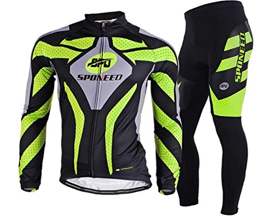 sponeed Men's Road Cycling Jersey Suits Fresh Bicycle Wear Long Sleeve Gel Padded Pants Asian XXL/US XL Green