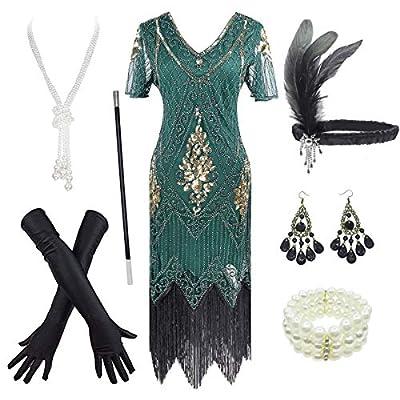 Women's 1920s Gatsby Inspired Sequin Beads Long Fringe Flapper Dress w/Accessories Set