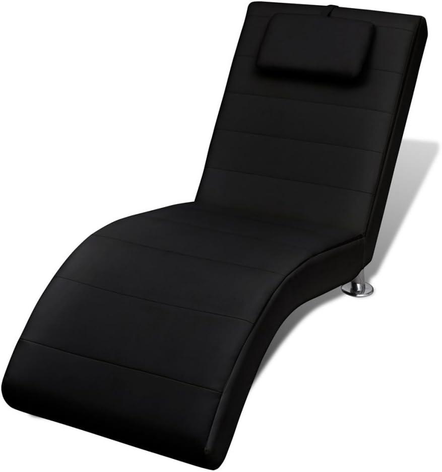 Festnight Chaise Longue Noire avec 2 Pieds et Appui-t/ête