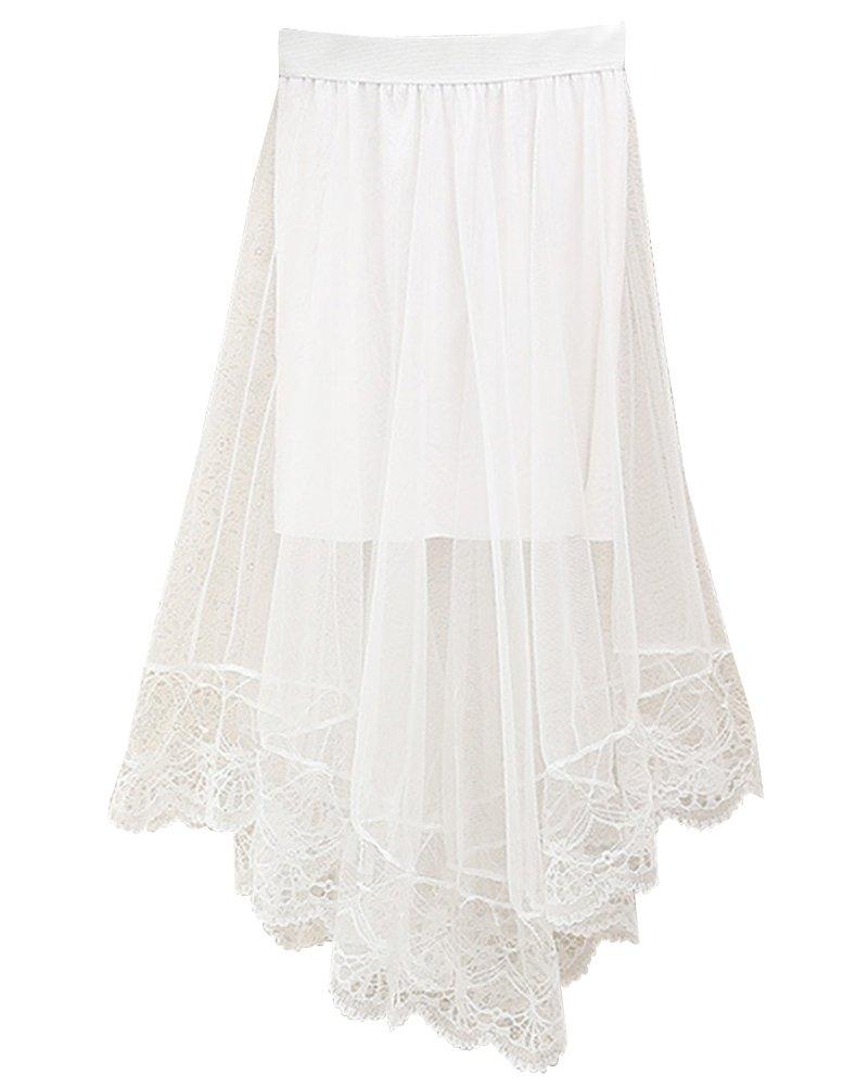 SaiDeng Mujer Elástico Cintura Alta Dobladillo Grande Irregular Encaje Falda Blanco