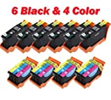Compatible Set of 10 (Series 22) High Yield Black and Color Ink Cartridges For the Dell 22 ink, P513w, V313, V313w Printers: 6 Black T091N, 4 Color T092N, Office Central