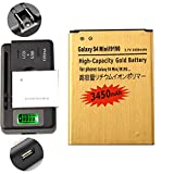 Gold Extended Samsung Galaxy S 4 Mini GT-I9190 High Capacity Battery B500AE B500BE B500BU B500BZ + Universal Battery Charger With LED Indicator For Samsung Galaxy S 4 Mini GT-I9190 / Samsung Galaxy S4 Mini GT-I9192 GT-I9195 3450 mAh