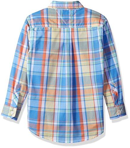 Tommy Hilfiger Big Boys' Christian Woven Shirt, Summer Blue, Small