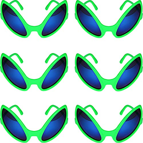 Bememo 6 Pieces Alien Glasses Green Plastic Alien Sunglasses for Adults and Kids Party Favors