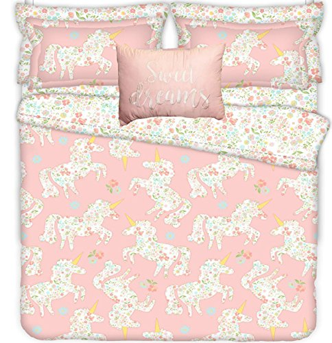 Girls Whimsical Magical Pink Unicorn Quilt set TWO PILLOW SHAMS and One Decorative Breakfast PILLOW! (4pc FULL/QUEEN SIZE (Breakfast Sham)
