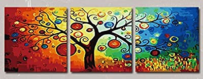 [WOODEN FRAME]Diy Oil Painting Paint By Number Kit-Rich Tree 24*24 Inch