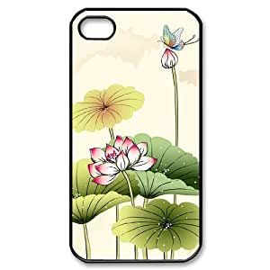 Beautiful lotus DIY Cover Case with Hard Shell Protection for Iphone 4,4S Case lxa#892711
