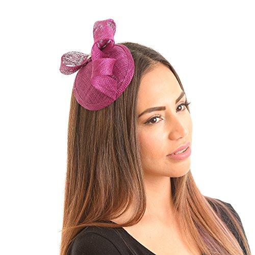 Elizabeth Womens Sinamay Fascinator Hat with Rhinestone Tea Party Derby Wedding Accessory (Purple)