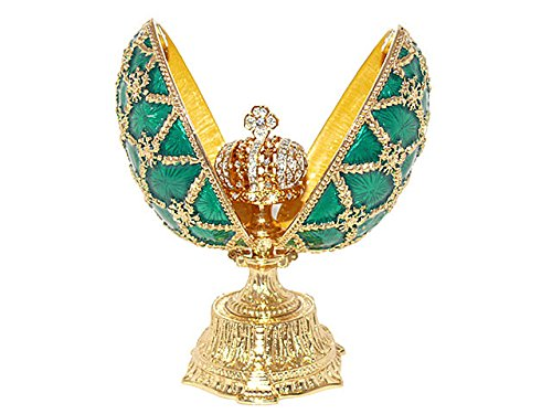 Imperial Pine Green Russian Enameled Faberge Style Egg With Mini Crown With Swarovski Elements Crystals Trinket Jewelry Box