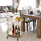 "Glitzhome 30.71"" H Oval Gold Bar Cart with 4 Wheels"