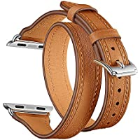 HighlifeS Hybrid Leather Sports Band for Apple Watch Vintage Bands Dark Brown Replacement Straps Classic Dress iwatch Series 4 44mm 40mm