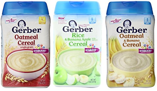 Gerber Baby Cereal 3 Flavor Variety Bundle: (1) Gerber Oatmeal Cereal, (1) Gerber Rice & Banana Apple Cereal, (1) Gerber Oatmeal & Banana Cereal, 8 Ounce
