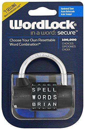 Wordlock PL-004-BK 5-Dial Combination Padlock, (Combination Sports Lock)
