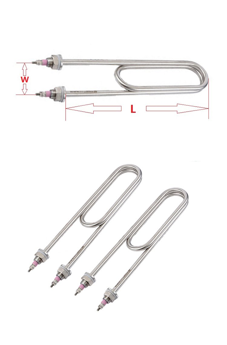 2 pcs 3000W 220V Double U-type Heating Tube for Steamed Rice Machine,M16X25 Flange Tubular Water Heater Element for Steaming Box