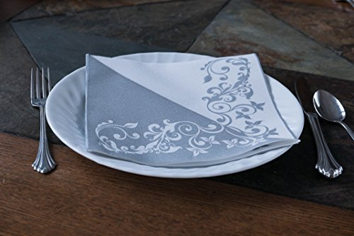 "Simulinen DISPOSABLE Dinner Napkins – DECORATIVE, FANCY, SILVER– Cloth Like Dinner Napkins – Soft, Absorbent & Durable – 16""x16"" – Pack of 50 by Simulinen (Image #4)"