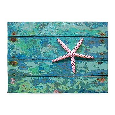 CafePress - Starfish And Turquoise 5'X7' Area Rug - Decorative Area Rug, 5'x7' Throw Rug