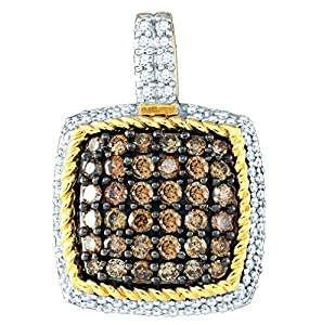 Diamond Pendant 10kt Yellow Gold Cognac-brown Colored Square Cluster 3/4 Cttw(I2/i3, i/j)
