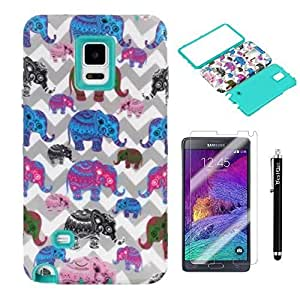 BestElec Samsung Galaxy Note4 case,Unique Cute Elephant Hybrid Hard Soft Case Cover for Samsung Galaxy Note4