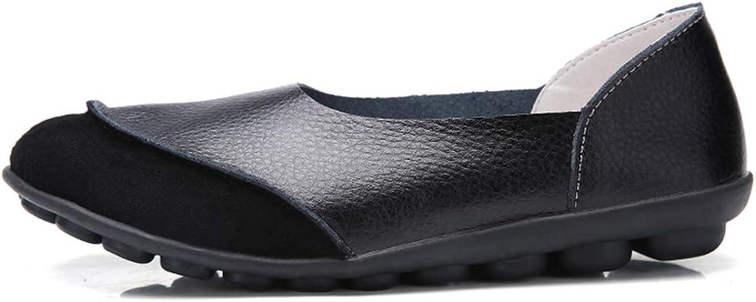 Hishoes Mocassins Femme Confort Chaussures de Conduite Chaussures de Ville en Cuir Talon Plate Loafters Printemps et /ét/é Sandales