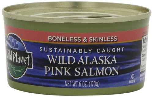 Wild Alaskan Pink Salmon (Wild Planet, Wild Alaskan Pink Salmon, Boneless & Skinless, 6-Ounce Cans (Pack of 6))