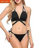 Avidlove Womens Halter Bikini Set Tie Side Bottom Swimsuit Swimwear Bathing Suit Black M
