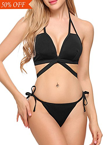 Avidlove Womens Halter Bikini Set Tie Side Bottom Swimsuit Swimwear Bathing Suit Black M -