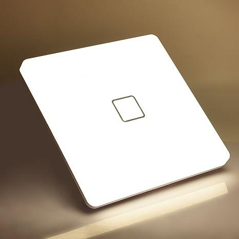 Plafones LED Airand 24W Cuadrado Lámpara de Techo 4000K Blanco Natural 2050LM Billante Eficiente Energía Impermeable IP44 luz de techo LED para Baño ...