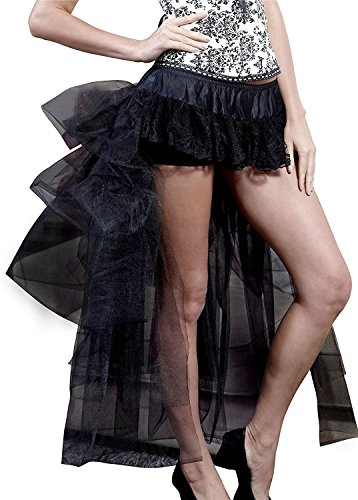 Wenxuan Women's Hi-Lo Long Tutu Skirt Layered Tulle Fancy Dress Party Skirt . (Black)