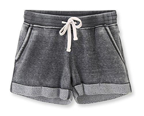 Vetemin Women's Juniors Cotton Stretch Activewear Lounge Shorts Burnout Gray S (Gray Lounge)