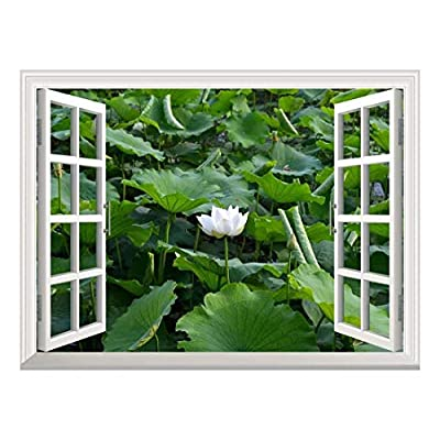 Removable Wall Sticker/Wall Mural - Lotus in a Pond | Creative Window View Wall Decor - 36