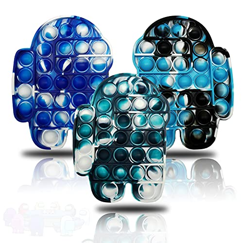 Mini Push pop Bubble Fidget Sensory Toys Bubble Popper Mini Keychain Simple Dimple Fidget Toy and Anxiety Relief Autism Help Restore Emotions Gift for Adult Kids-3Pcs D