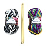 CurtzyTM Beginners Chunky Knit Starter Knitting Set Kit With Bamboo Needles