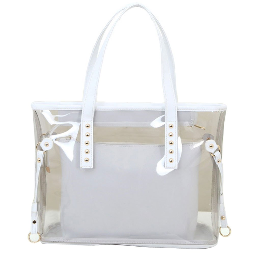 Donalworld Women Semi-Clear Handbags and Totes large Beach Bag in Bag Col4