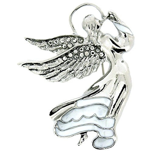 - PYNK JEWELLERY Silver and Clear Swarovski Crystal Flying Guardian Angel Brooch