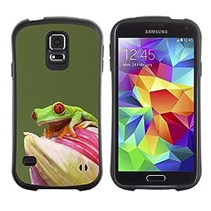 Suave TPU Caso Carcasa de Caucho Funda para Samsung Galaxy S5 SM-G900 / Flower Green Pastel Animal Rainforest / STRONG