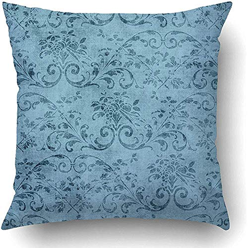 Jacobean Vine - YunnStr0u Throw Pillow Covers Pretty Vintage Blue Floral Pattern Jacobean Vine Aged Flower Grungy Old Shabby Polyester 18 x 18 Inch Square Hidden Zipper Decorative Pillowcase
