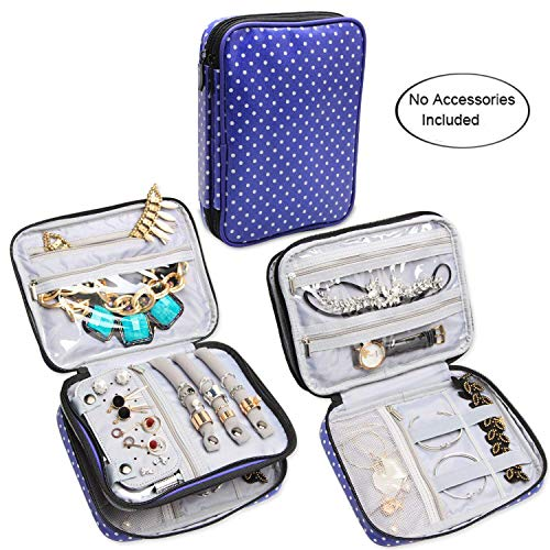 Teamoy Double Layer Jewelry Case, Travel Jewelry Case Bag for Womens Earrings, Rings, Necklaces, Chains and Other Accessories, Purple Dots from Teamoy