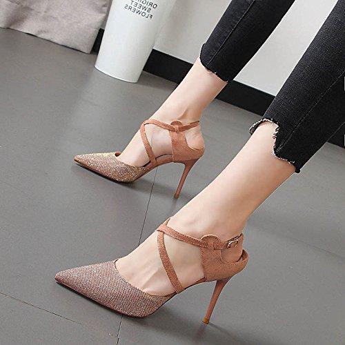7f4bbe5c7 Xue Qiqi Sandalias de tacón alto de mujeres bellas y tira transversal luz de  Baotou zapatos de mujer Rosa