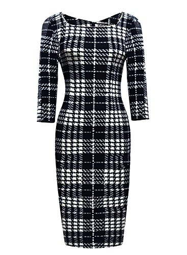 age Striped Print 3/4 Sleeve Work Bodycon Sheath Pencil Dress (White Career Dress)