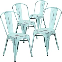 Flash Furniture 4 Pk. Distressed Green-Blue Metal Indoor-Outdoor Stackable Chair
