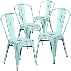 Flash Furniture 4 Pk Distressed Green Blue Metal Indoor Outdoor Stackable Chair